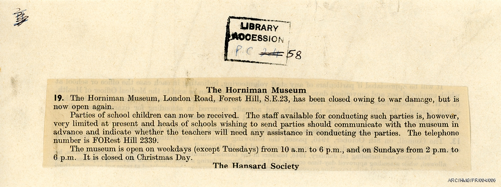 """A press cutting with the heading """"The Horniman Museum and copy about the Horniman being closed due to war damages but is now reoping again"""