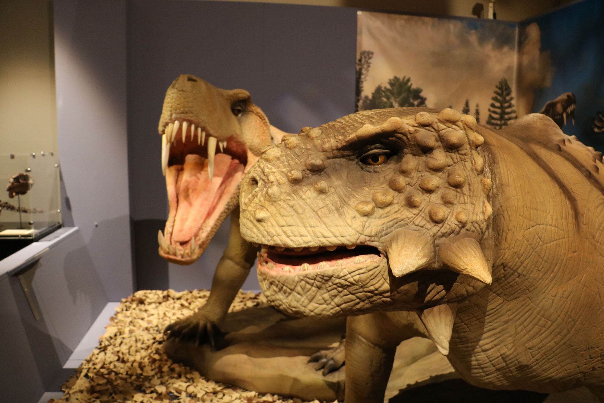 Two prehistoric creatures with large teeth and face spikes. One has its mouth open in a roar. They are animatronix figures