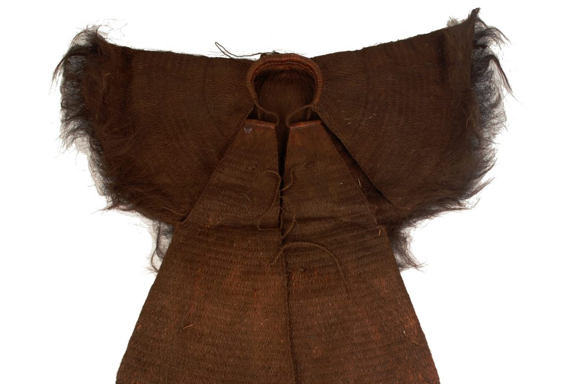brown coat made of coconut
