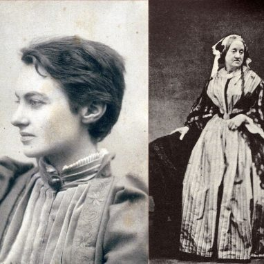 Three black and white photos side by side with women wearing older fashioned clothes