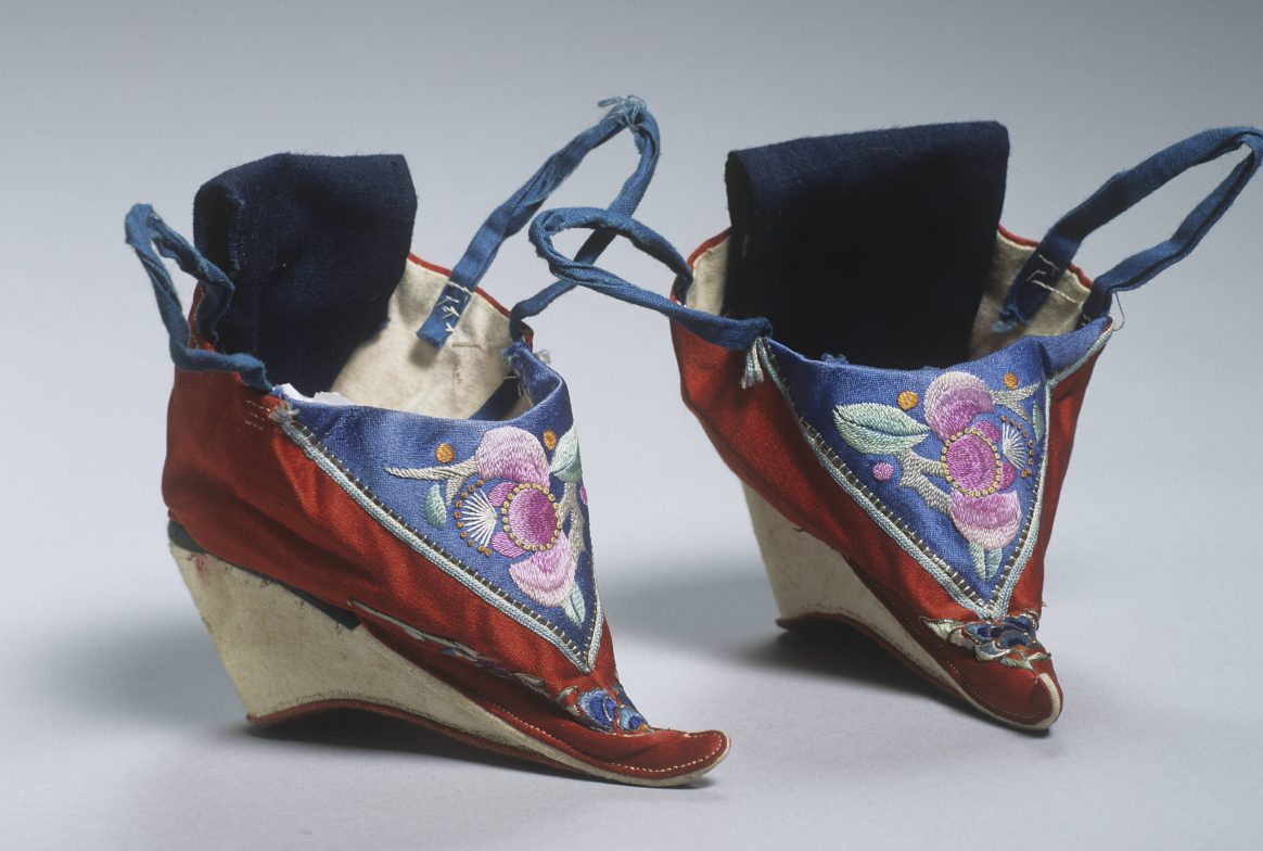Pair of red, blue and pink silk shoes