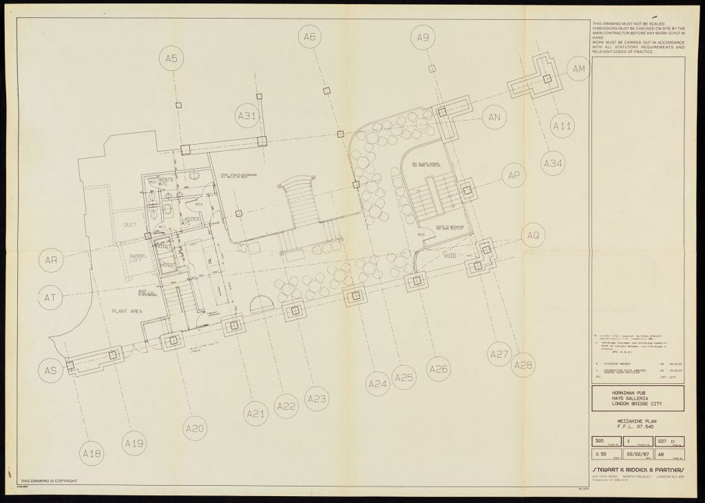 A white piece of paper showing the outlines of a building which is marked Horniman at Hays