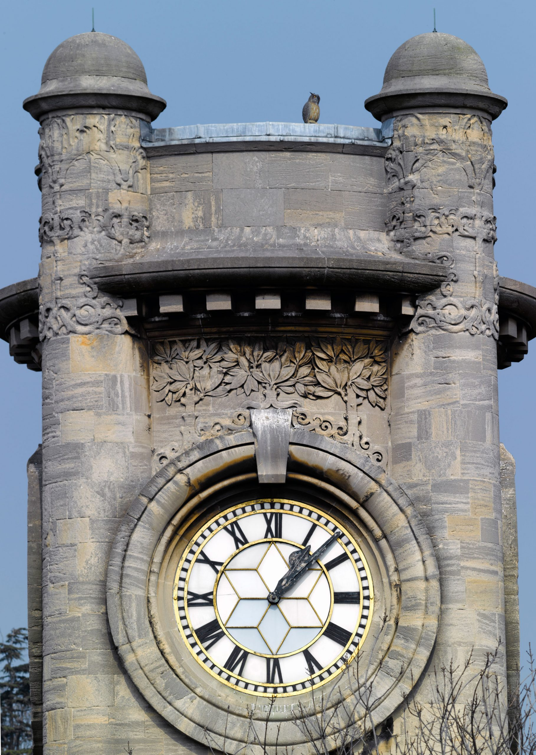 A close up of the top of the Horniman clocktower, with trees growing around the face