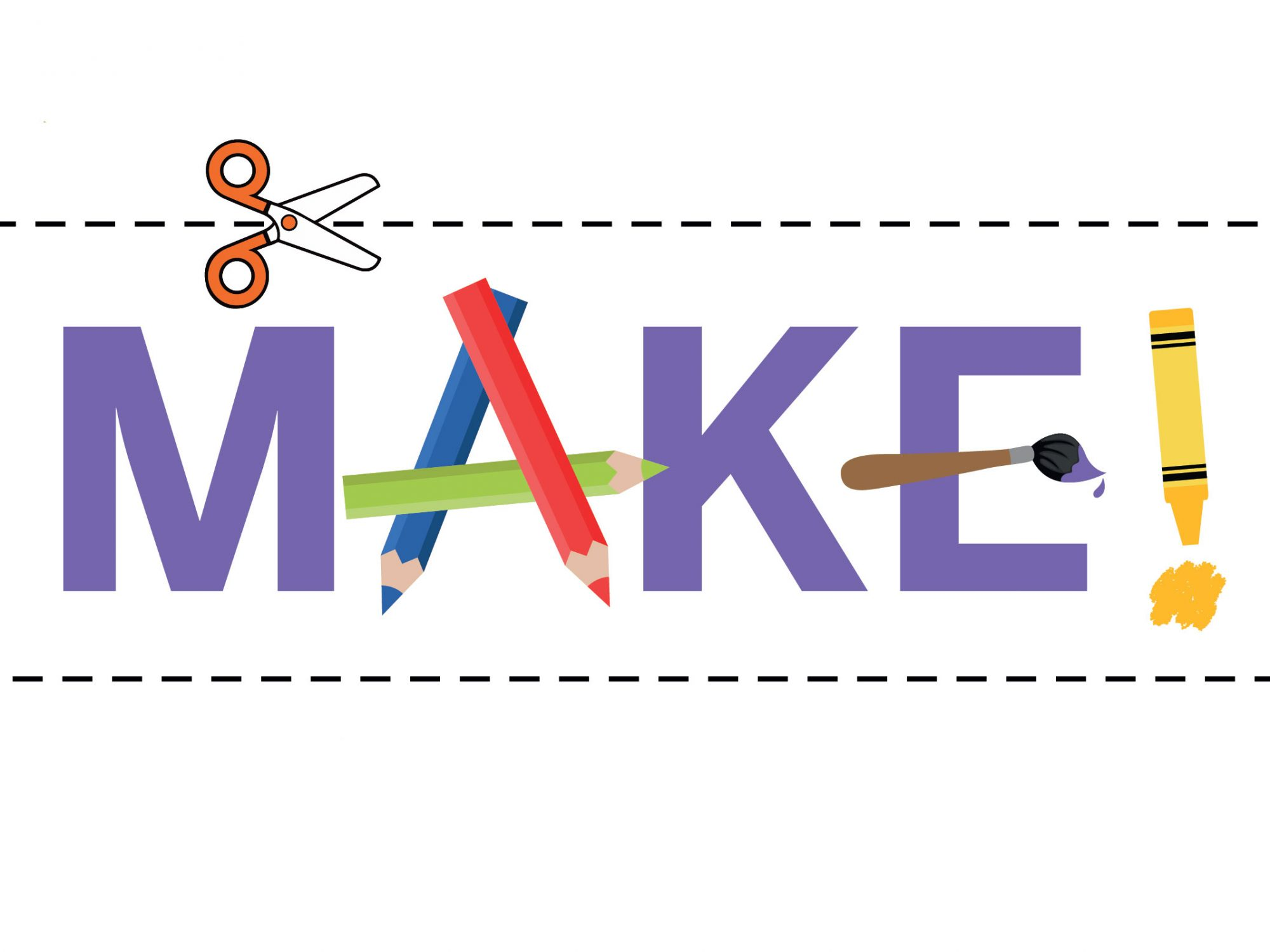 The word MAKE! created from pencils and crayons