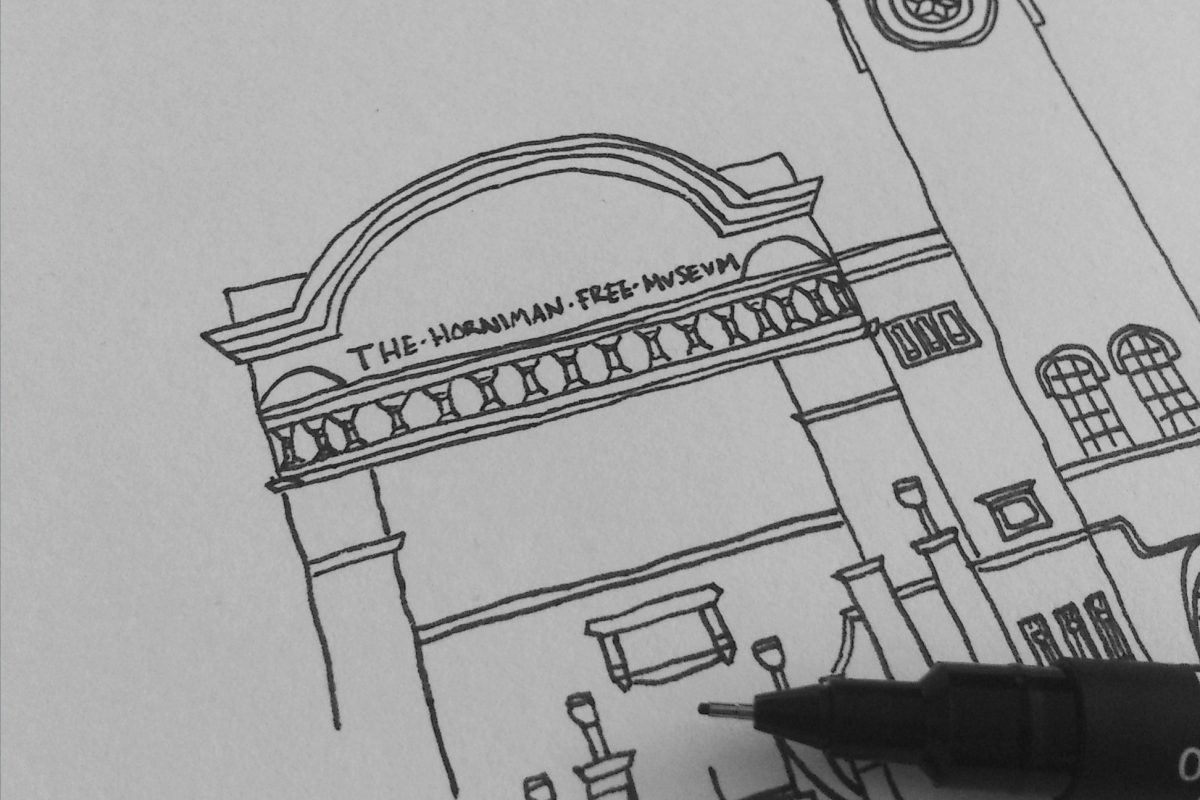 Drawing of the Horniman building and clocktower