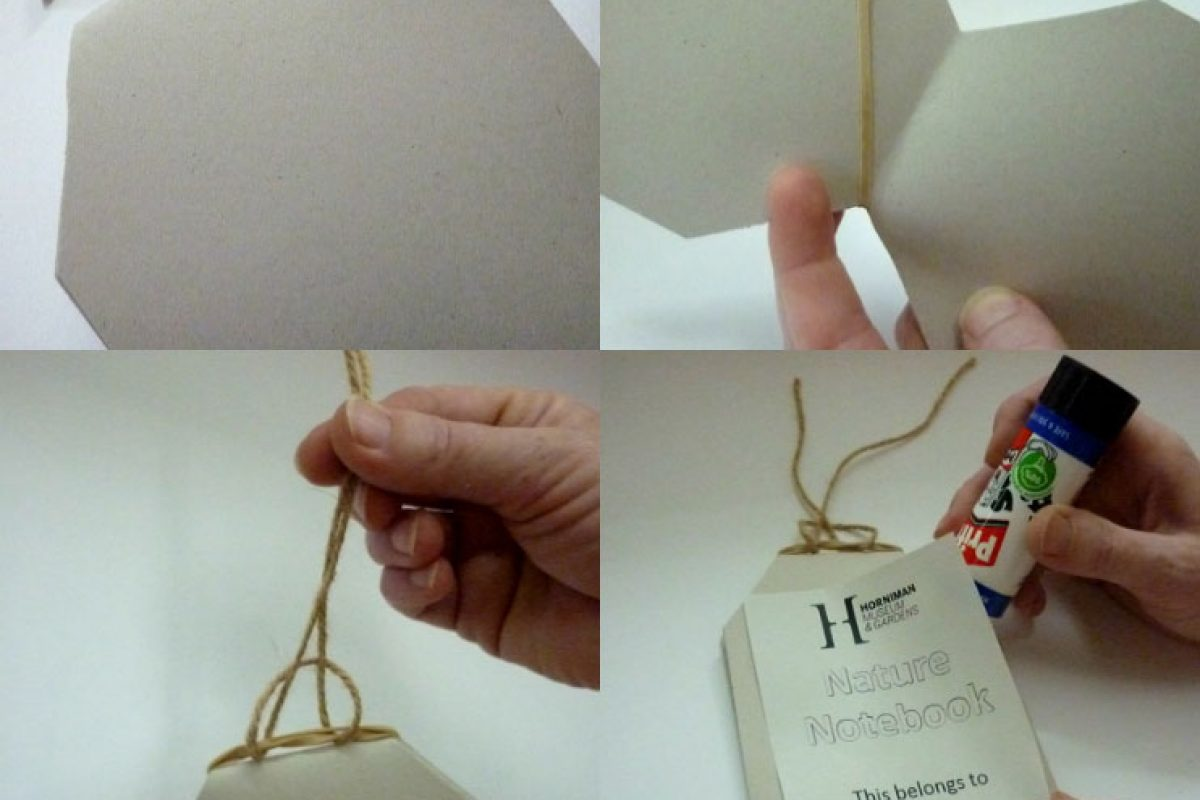 An image divided into four tiles with card being folded and cut in one, string attached in two, tied in three and a cover glued on in four