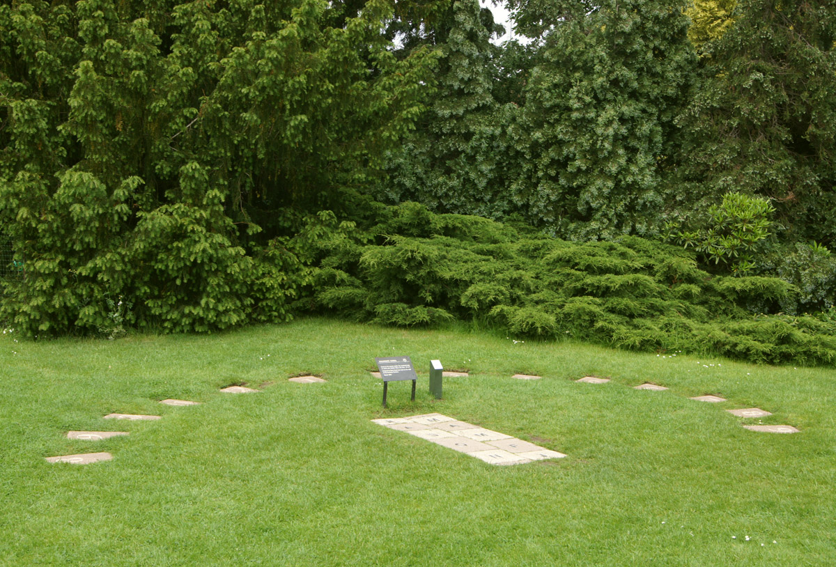 A series of stone flagstones on grass, acting as a sundial