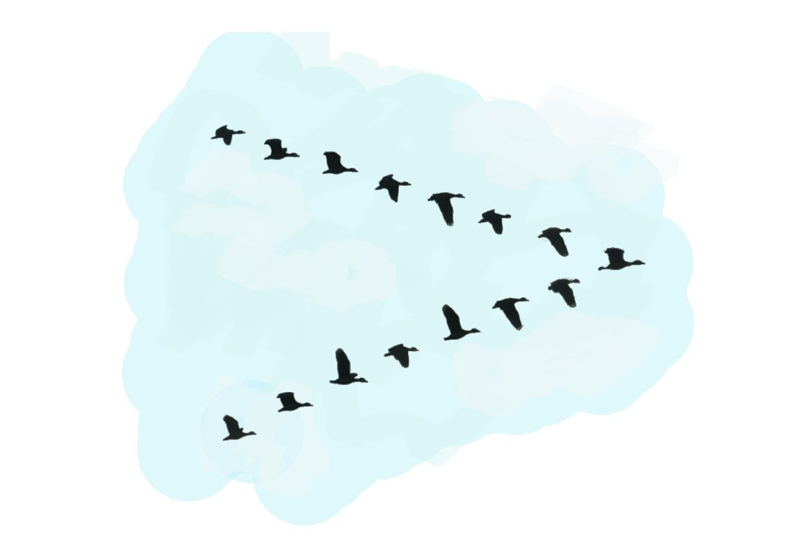 A water painting of a flock of birds silhouette in blue sky.