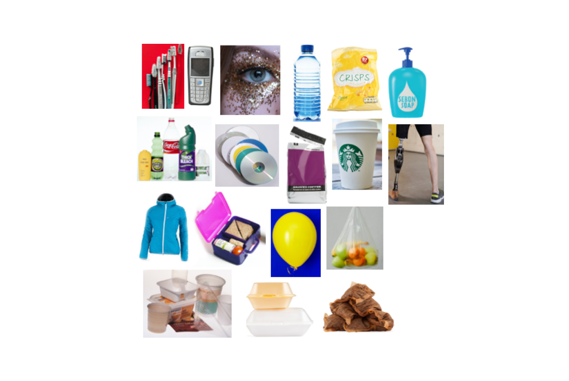 Various single-use plastic items including bottle, glitter and toothbrushes