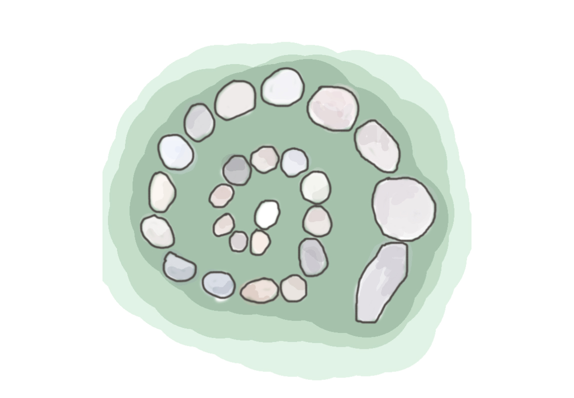 Illustration of angular stones in a spiral formation with off green colour surrounding the spiral.