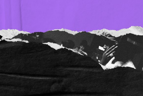 Two strips of colour , top purple and bottom black with a torn paper effect. There is a gap to the right of the paper with people wearing headphones.