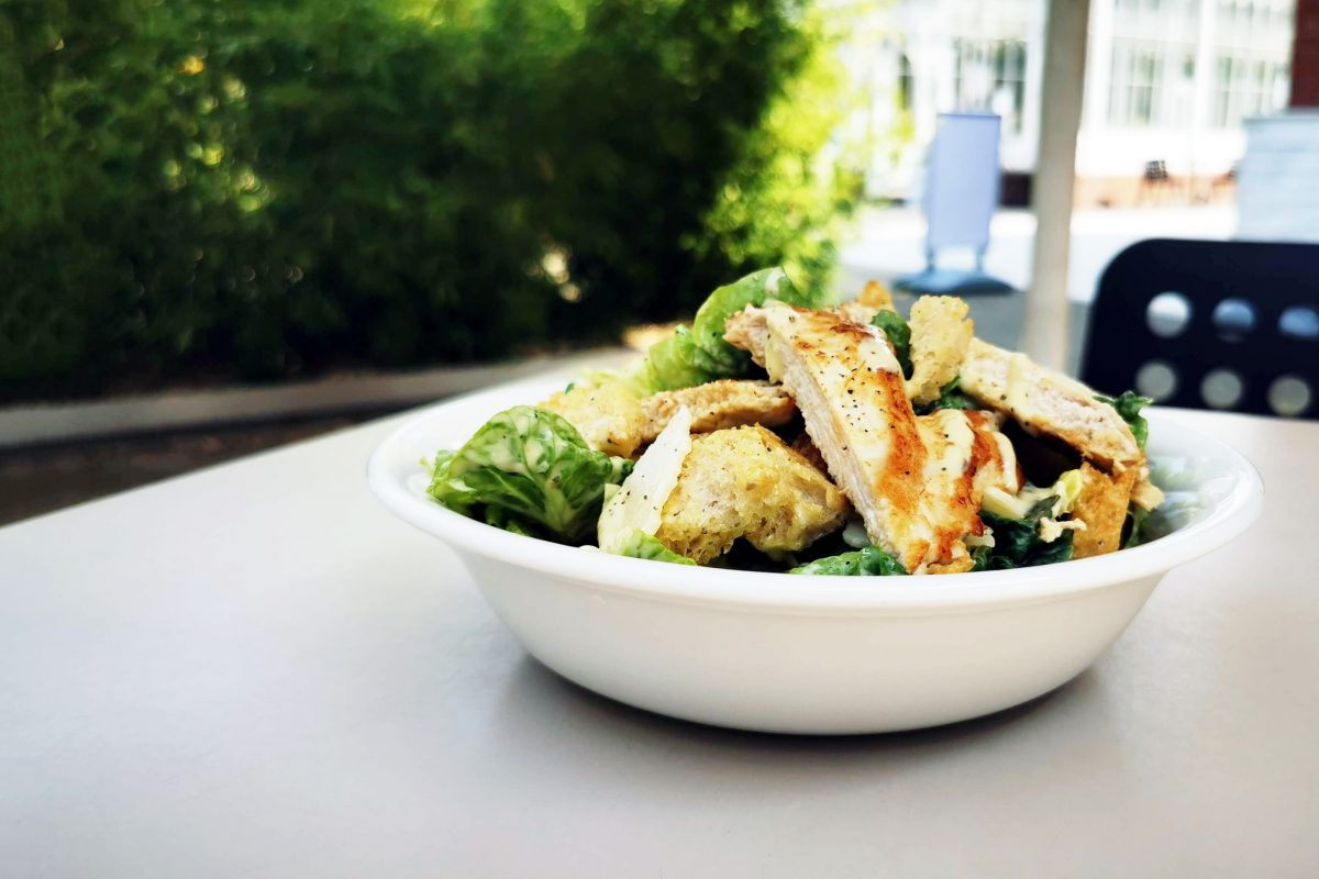 Chicken slices and salad in a bowl on a table with green are in the background.