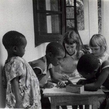 Four children at table