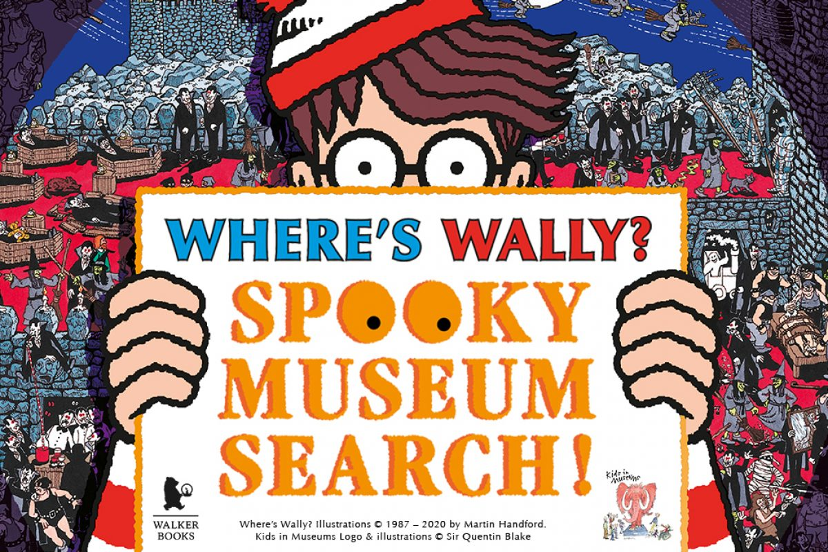 Cartoon of man holding up sign that reads, Wheres Wally? Spooky Museum Search!