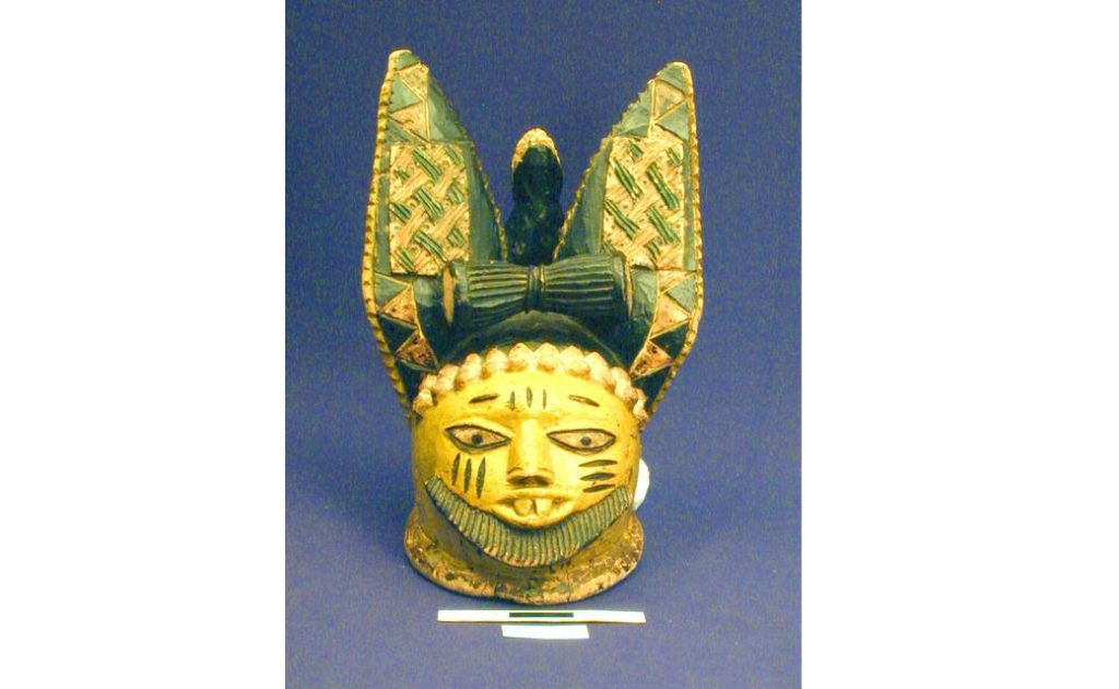 Mask with long rabbit ears.