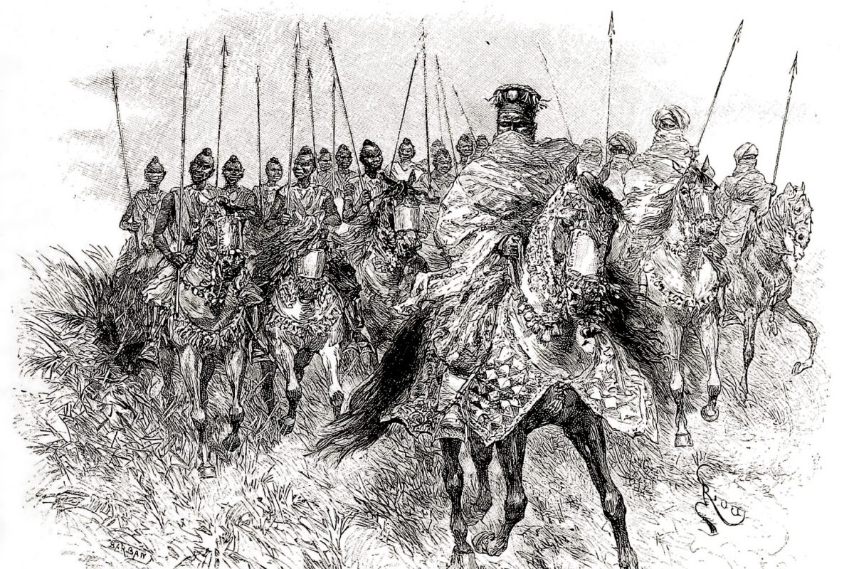 Drawing of the Mossi king on horseback with cavalry