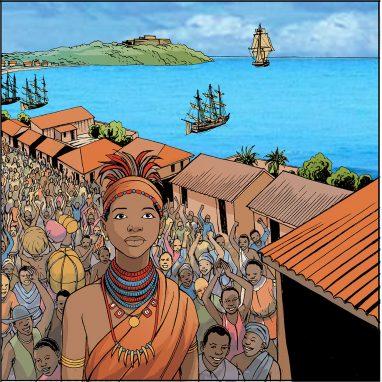 Two drawings showing Nzinga Mbandi