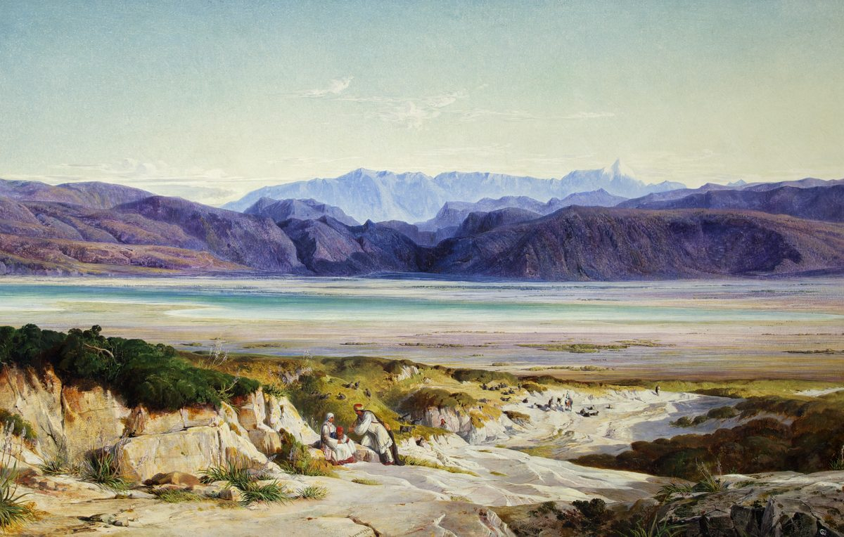 Painting of Mountains with two people resting on rocks in the foreground