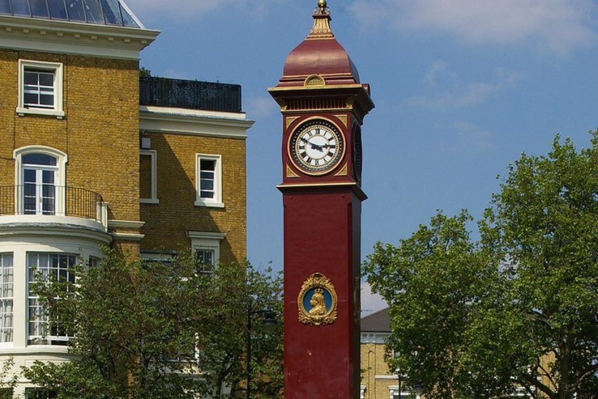 A red metal clocktower
