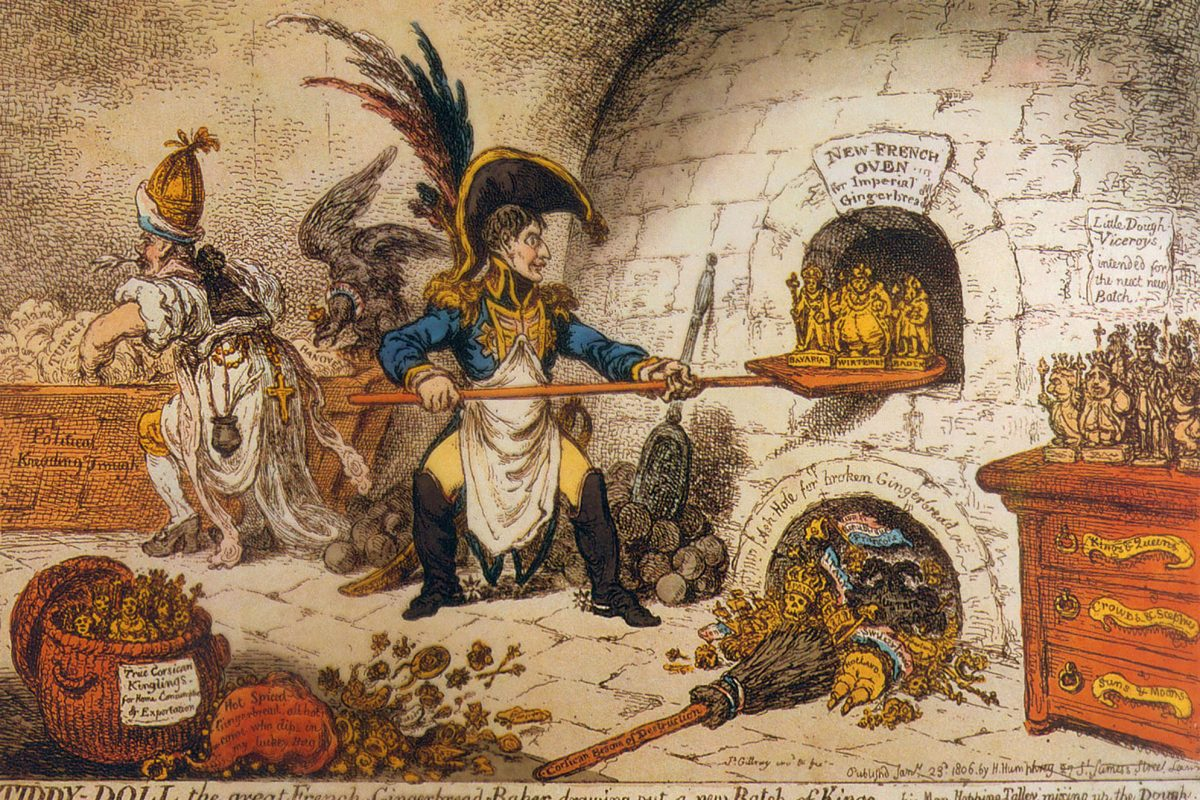 An old drawing of a baker baking countries kings and queens like gingerbread