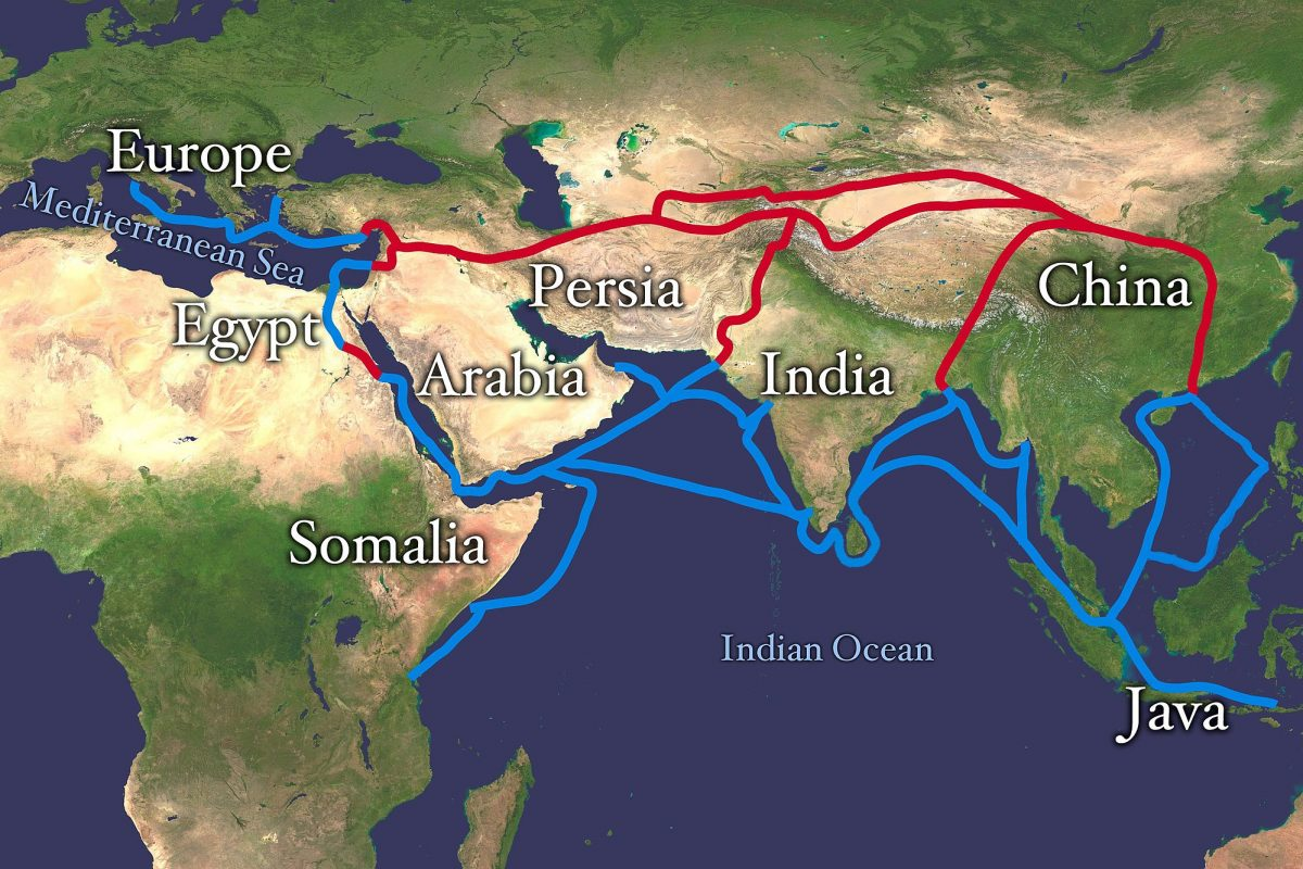 A map showing lines from East Asia into the Mediterranean