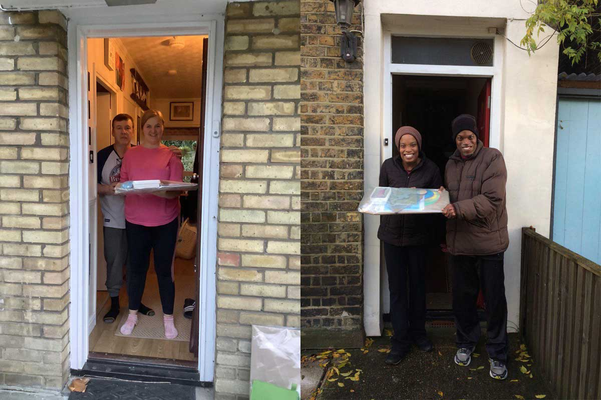 A collage of two images of participants receiving their art packs on their doorsteps
